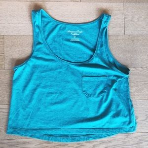 American Eagle Green Cropped Tank Top